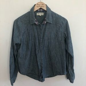 Madewell chambray button up top size M